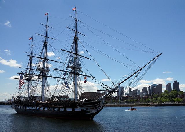 USS Constitution is underway in Boston Harbor